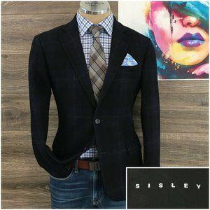 Sisley Mens Blazer Sport Coat Jacket Flannel Wool